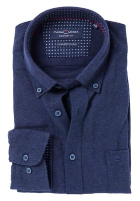 Casa Moda Comfort Fit overhemd, blauw met contrast (Cashmere feeling)