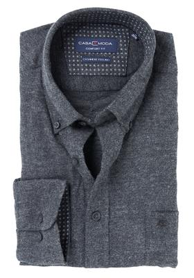 Casa Moda Comfort Fit overhemd, antraciet met contrast (Cashmere feeling)
