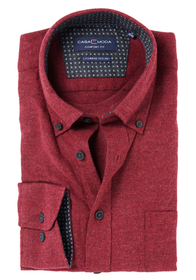 Casa Moda Comfort Fit overhemd, bordeaux met contrast (Cashmere feeling)