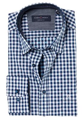 Casa Moda Comfort Fit overhemd, blauw-wit geruit (contrast)