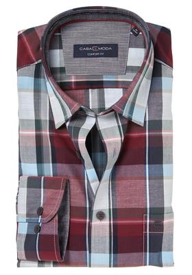 Casa Moda Comfort Fit overhemd, bordeaux geruit (contrast)