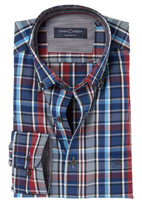 Casa Moda Comfort Fit overhemd, rood-wit-blauw geruit (contrast)