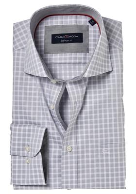 Casa Moda Comfort Fit overhemd, grijs geruit (contrast)