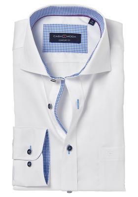 Casa Moda Comfort Fit overhemd, wit visgraat (contrast)