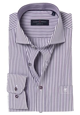 Casa Moda Comfort Fit overhemd, paars gestreept (contrast)