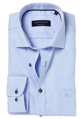 Casa Moda Comfort Fit overhemd, blauw-wit structuur (contrast)