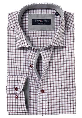 Casa Moda Comfort Fit overhemd, wit-grijs-bordeaux geruit (contrast)