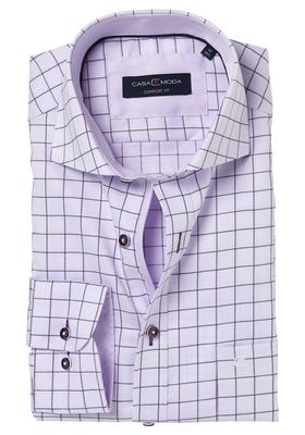 Casa Moda Comfort Fit overhemd, lila geruit (contrast)