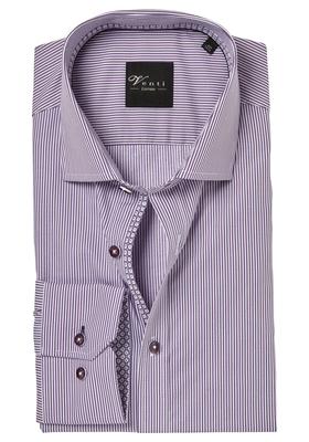Venti Modern fit overhemd, paars gestreept (contrast)