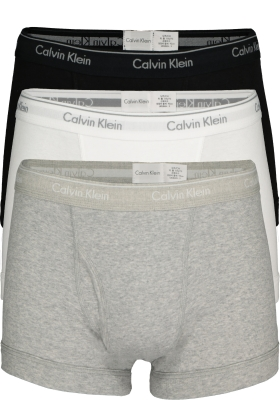 Calvin Klein trunks (3-pack), heren boxer normale lengte met gulp, zwart, wit, grijs
