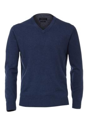 Casa Moda heren trui katoen, V-hals, koningsblauw