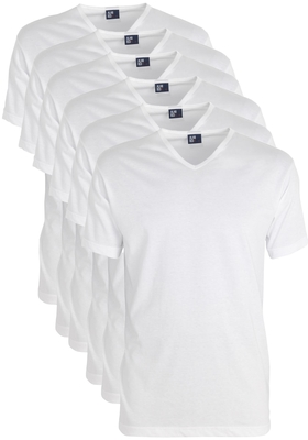 Actie 6-pack: Alan Red T-shirts Vermont, V-hals, wit
