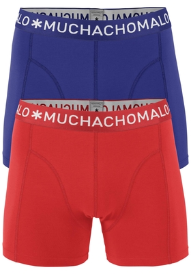 Muchachomalo boxershorts, 2-pack, solid rood en blauw