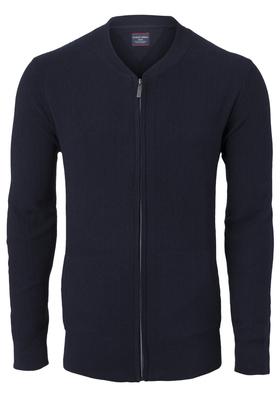 Casa Moda heren vest katoen, marine blauw (met rits)