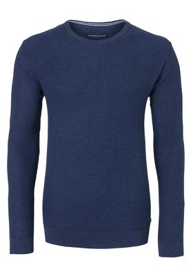 Casa Moda heren trui katoen, O-hals, blauw honingraat structuur
