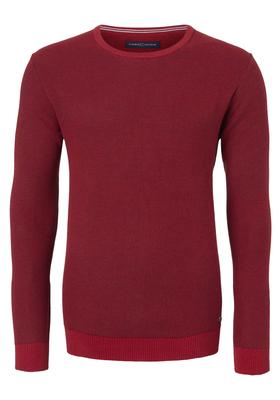 Casa Moda heren trui katoen, O-hals, rood honingraat structuur