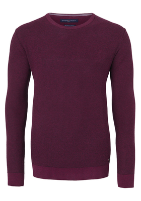 Casa Moda heren trui katoen, O-hals, bordeaux rood