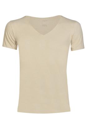Schiesser Laser Cut, naadloos heren T-shirt diepe V-hals, huidskleur
