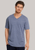Schiesser Mix+Relax heren lounge t-shirt korte mouw V-hals, blauw melange