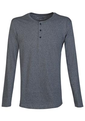 Schiesser Mix+Relax heren lounge t-shirt lange mouw (knoopsluiting), blauw melange