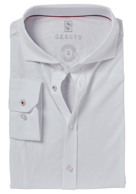 Desoto Slim Fit tricot overhemd, wit stretch