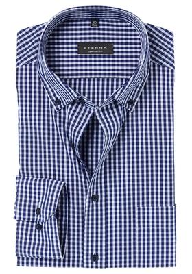 ETERNA Comfort Fit overhemd, donkerblauw geruit (button-down)