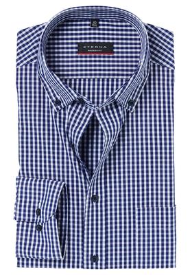 ETERNA Modern Fit overhemd, donkerblauw geruit (button-down)