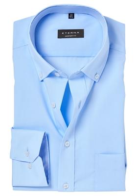 ETERNA Comfort Fit overhemd, lichtblauw (gestreept contrast)