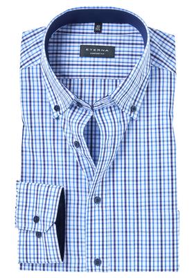 ETERNA Comfort Fit overhemd, blauw geruit (contrast)