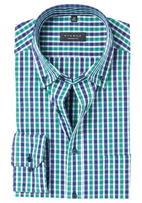 ETERNA Comfort Fit overhemd, blauw-groen geruit