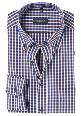 ETERNA Comfort Fit overhemd, blauw-bruin geruit