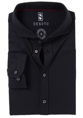 Desoto Slim Fit tricot overhemd, zwart stretch