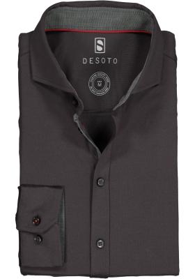 DESOTO slim fit overhemd, stretch tricot, antraciet