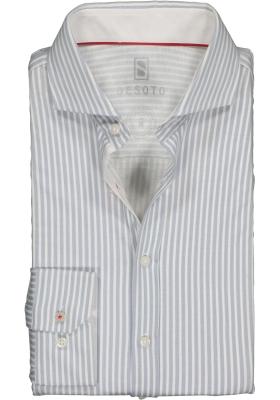 DESOTO slim fit overhemd, stretch tricot, grijsblauw met wit gestreept