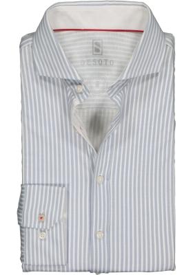 Desoto Slim Fit tricot overhemd, grijs-wit gestreept stretch