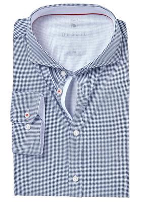 Desoto Slim Fit tricot overhemd, donkerblauw-wit geruit stretch