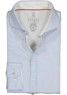 DESOTO slim fit overhemd, stretch tricot, lichtblauw-wit geruit