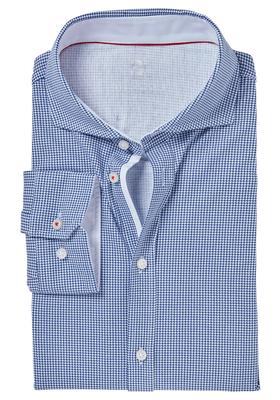 Desoto Slim Fit tricot overhemd, middenblauw-wit geruit stretch