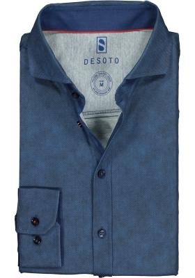 Desoto Slim Fit tricot overhemd, donkerblauw structuur stretch