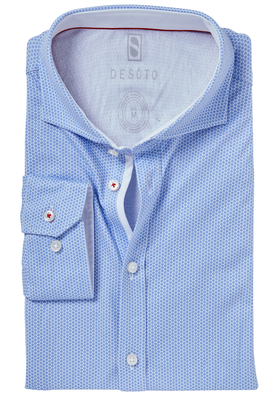 Desoto Slim Fit tricot overhemd, lichtblauw-wit gestipt stretch