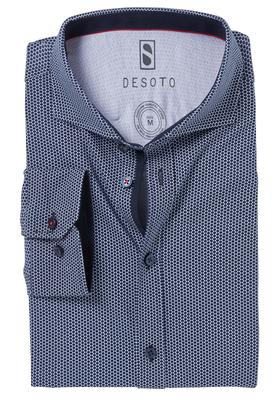 Desoto Slim Fit tricot overhemd, donkerblauw-wit gestipt stretch
