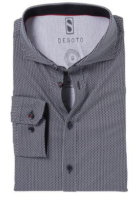 Desoto Slim Fit tricot overhemd, zwart-wit gestipt stretch