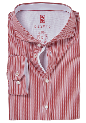 Desoto Slim Fit tricot overhemd, donkerrood-wit gestipt stretch