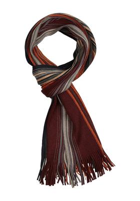 Michaelis heren sjaal, grijs-bordeaux gestreept