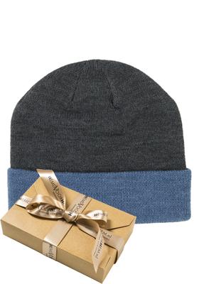 Muts Michaelis in cadeauverpakking, antraciet met blauwe omslag