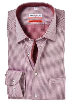 MARVELIS Modern Fit overhemd, bordeaux rood dessin (contrast)