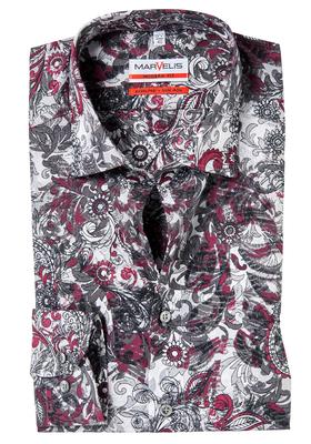 MARVELIS Modern Fit overhemd, grijs-bordeaux dessin (contrast)