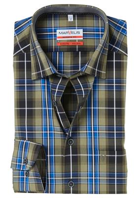 MARVELIS Modern Fit overhemd, blauw-bruin geruit (contrast)