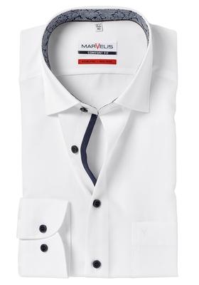 MARVELIS Comfort Fit, overhemd, wit (blauw contrast)