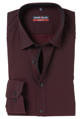 MARVELIS Body Fit overhemd, mouwlengte 7, bordeaux rood gestippeld (contrast)